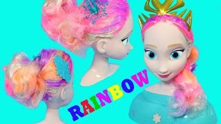 FROZEN Elsa RAINBOW Hair Styling Head Disney Princess Queen Elsa Dyed Rainbow Hair Learn Colors