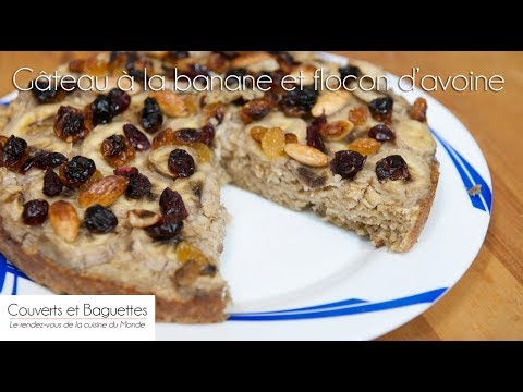 gâteau-à-la-banane-et-flocon-d'avoine---couverts-et-baguettes
