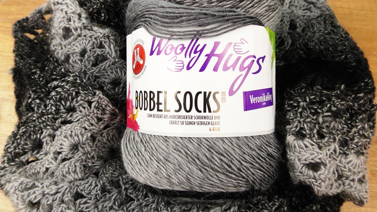 Stola Häkeln Grafit Grey Woolly Hugs Bobbel Socks Schal Aus
