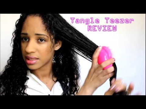 tangle teezer vs no tangles brush review on wet thick curly hair youtube