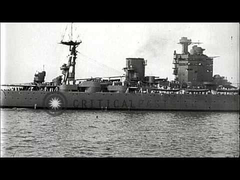 HMS Nelson, a British Battleship underway in United States. HD Stock Footage