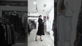 미시중년여성 밍크후드베스트 & 블랙주름롱원피스