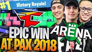 LIVE FORTNITE WIN w/ FAZE & RANDOM TEAMATE!!! (Fortnite Battle Royale Pax East Gameplay)