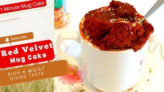 Red Velvet Cake in a Minute   Red Velvet Mug Cake   Eggless Red Velvet Cake Recipe