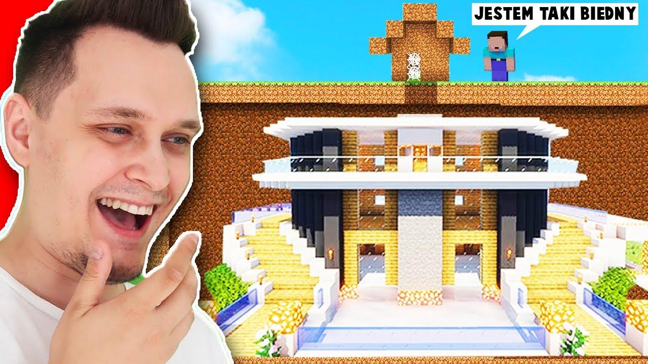 NOOBEK Udaje Że Jest Biedny A MA OGROMNY PODZIEMNY Domek w Minecraft | Vito i Bella