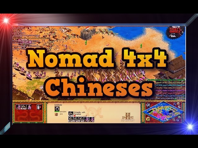 Age of Empires 2 HD 4x4 Nomad Chinese Gameplay PT BR