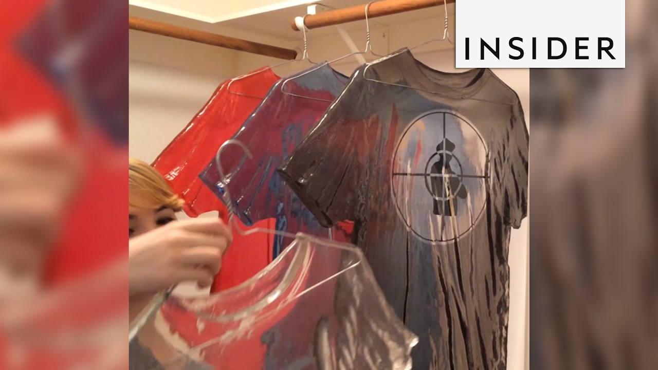 An artist creates t-shirts made of glass - YouTube
