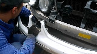 Removing front bumper on Mercedes W211 / How to remove the front bumper for Mercedes W211