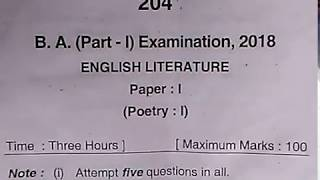 B.A. (1st Year) 2018 English Literature (Paper 1)