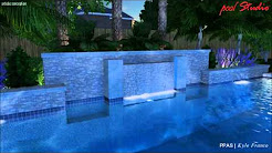 Williams Family Pool - Geometric Pool & Spa - Beautiful Custom Wall