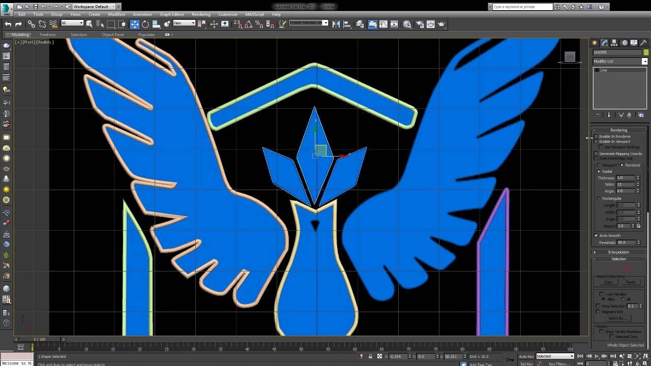 Pokemon GO-Team Mystic Logo 3DS Spline Modeling