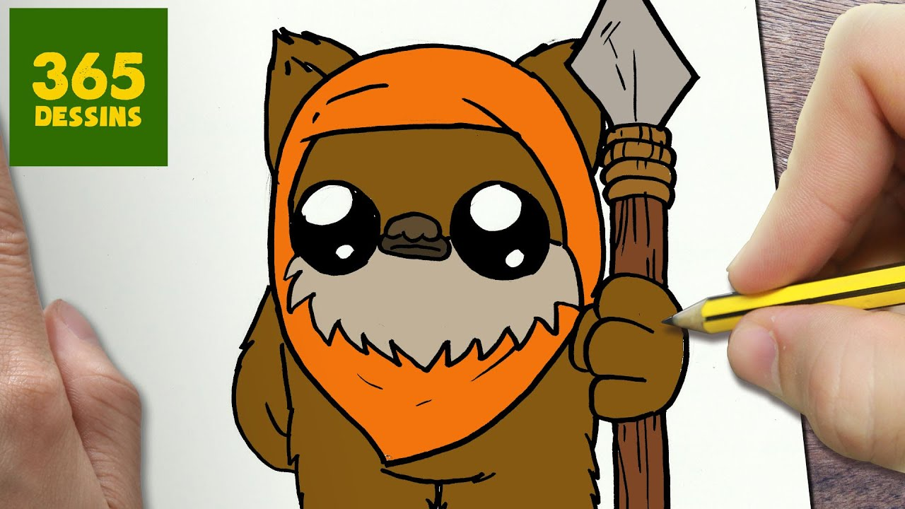 Comment dessiner ewok kawaii tape par tape dessins - Facile dessin ...