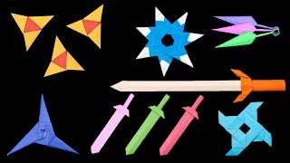 Top 06 Easy Origami Ninja Star/sword/Knife - How to make