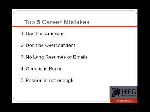 Top 5 Hedge Fund Career Mistakes