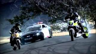 Police Mustang Drift Chasing Dirt Bikes