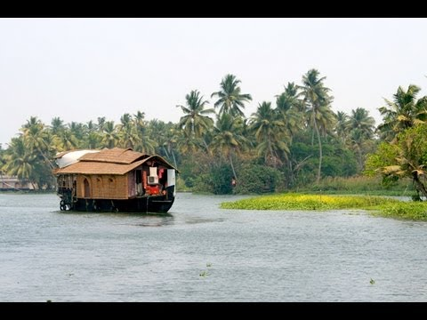 Kerala Backwaters, India / Lagoon with house boats near Cochin (Kochi)