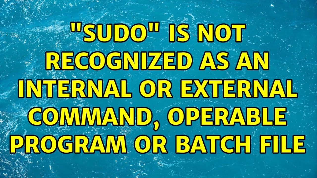 """Ubuntu: """"sudo"""" is not recognized as an internal or external command, operable program or batch file"""