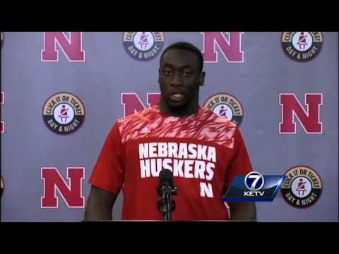 Freedom Akinmoladun addresses the media following Nebraska's 36-28 win against Southern Miss.