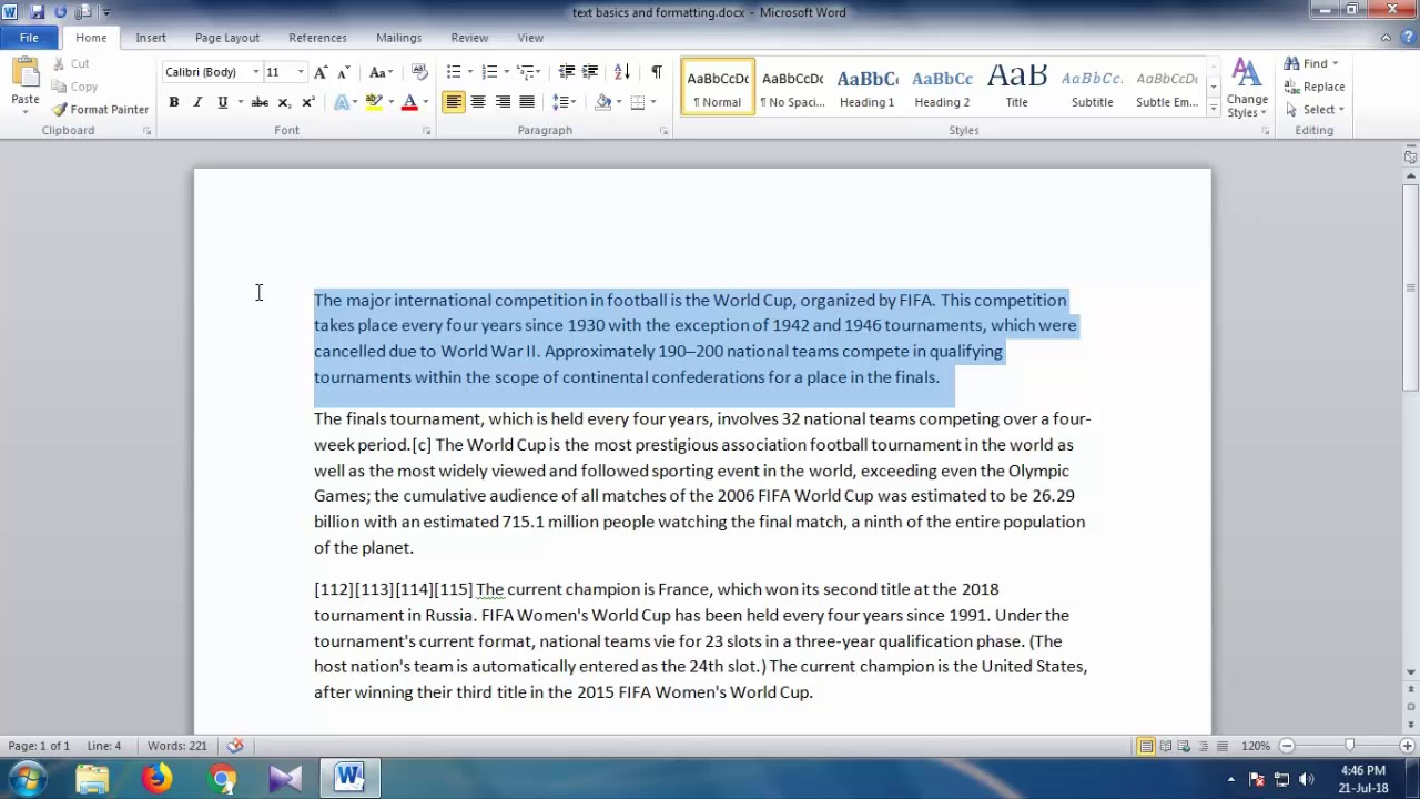 Microsoft Word 2010 Tutorial - Text basics and formatting - part 2
