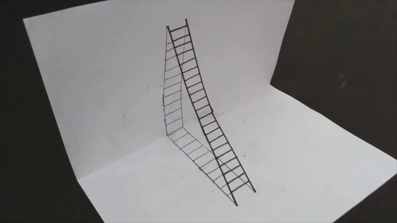 How to Draw a 3D Ladder - Trick Art For Kids-cool optical ...