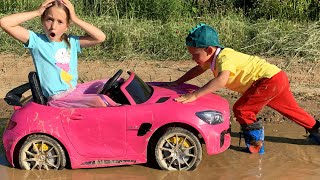 Sofia stuck in the mud Kids stories about ride on Power Wheels Tractor