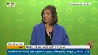 Cem Özdemir und Katrin Göring-Eckardt zum Abbruch der Sondierung am 20.11.17
