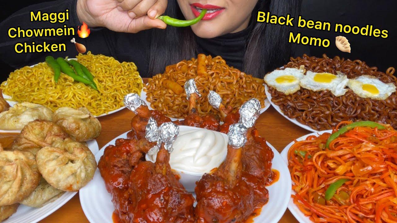ASMR:EATING MAGGI NOODLES,MOMO,,CHOWMEIN,BLACKBEAN NOODLE,CHICKEN LOLLIPOP *FOOD VIDEOS*