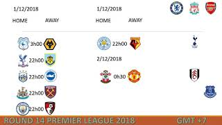 Lịch thi đấu Ngoại hạng Anh vòng 14 [2018-2019]