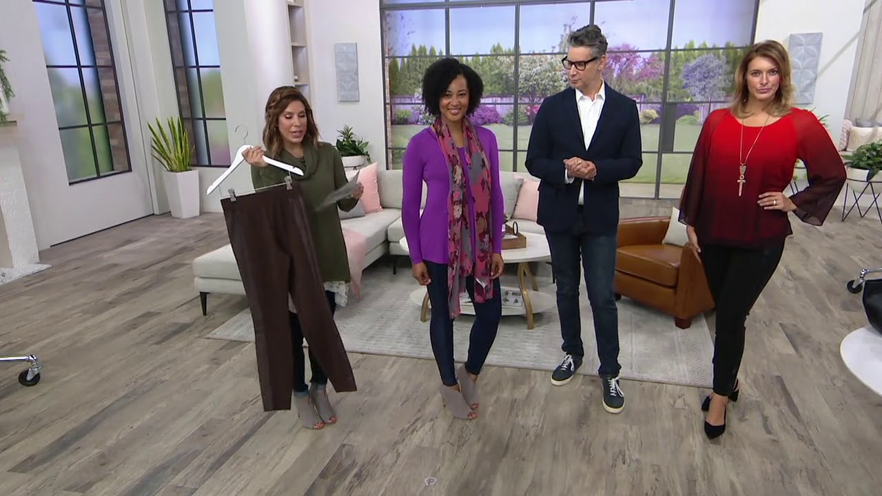 H by Halston Ponte Leggings with Faux Leather Details on QVC