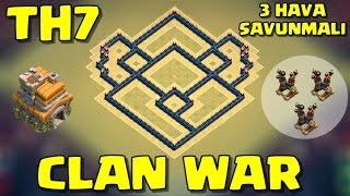 Clash of Clans - 7.Seviye Köy Binası - 3 Hava Savunmalı - Kupa ve Klan Savaşı Düzeni