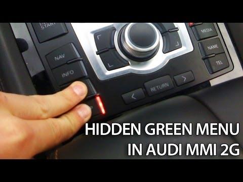 Hidden green menu in Audi MMI 2G (A4, A5, A6, A8, Q7) Multi Media Interface how to