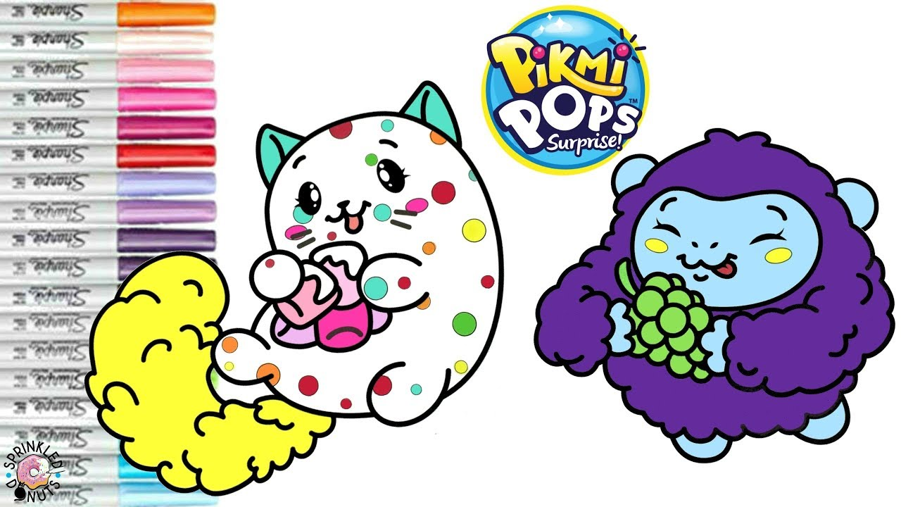 Pikmi Pops Coloring Book Page Snacks The Playing Cat And Goji The Gorilla