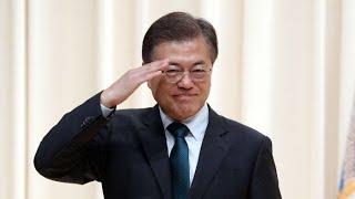 """문 대통령, 합참의장 이취임식 참석…""""국방개혁은 국민의 명령"""" / 연합뉴스TV (YonhapnewsTV)"""