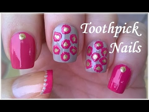 Toothpick Nail Art Tutorial #4 - Elegant Pink / Gold / Light Brown NAILS  Design - Toothpick Nail Art Tutorial #4 - Elegant Pink / Gold / Light Brown