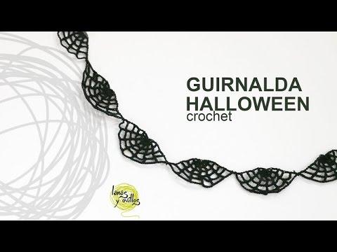 Tutorial Guirnalda Halloween Telaraña Crochet en Español - YouTube