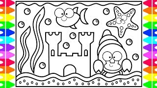 How to Draw an Aquarium for Kids 🐠🦀💦Aquarium Drawing for Kids | Aquarium Coloring Pages for Kids