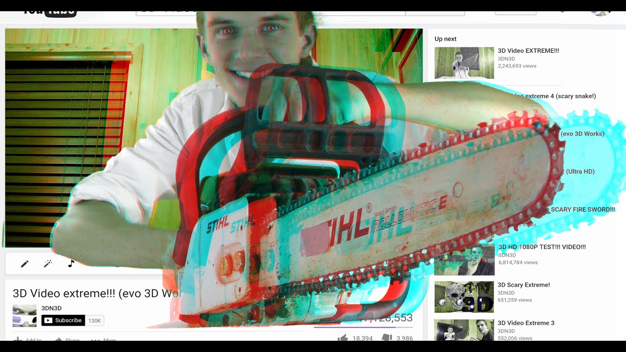 3D Video Extreme CHAINSAW!!! - YouTube