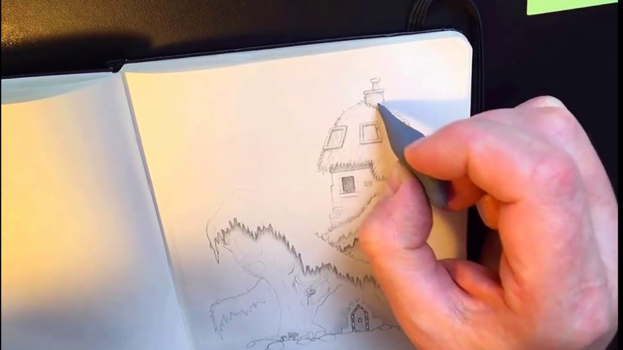 Live sketched concept art pencil drawing for a platform game environment
