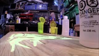 Glow in the dark inlays with epoxy resin.Glow powder Tests. Frog/Punisher Skull