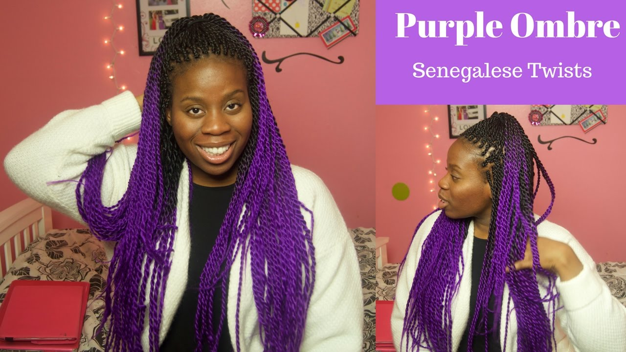Purple Ombre Senegalese Twists - YouTube