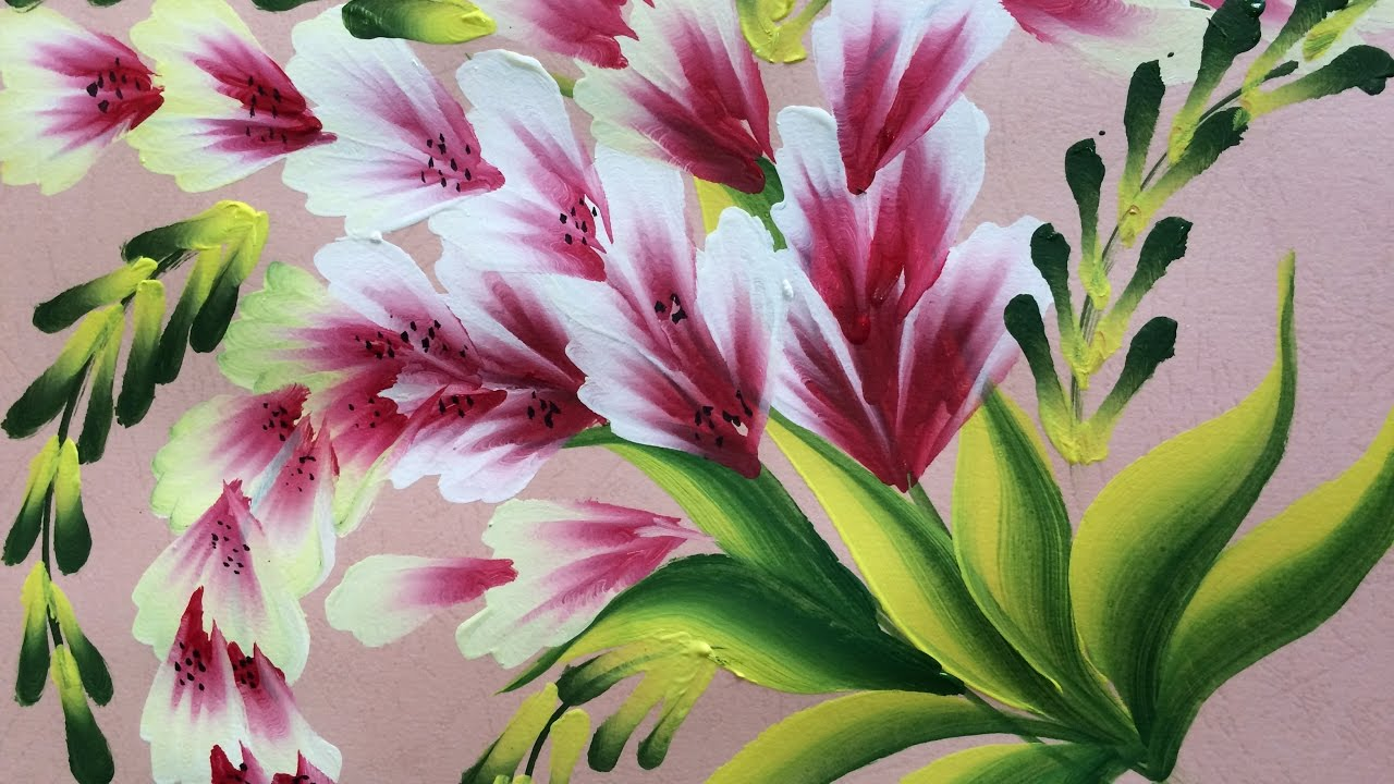One Stroke Painting Shell Simple Decorative Flowers
