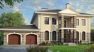 Проект дома в классическом стиле из кирпича. Дом с гаражом, терраса и балкон. Ремстройсервис М-173