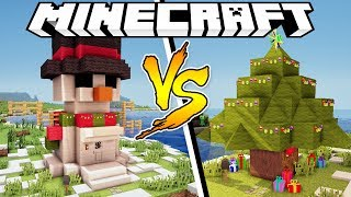SNOWMAN HOUSE VS CHRISTMAS TREE HOUSE - Minecraft