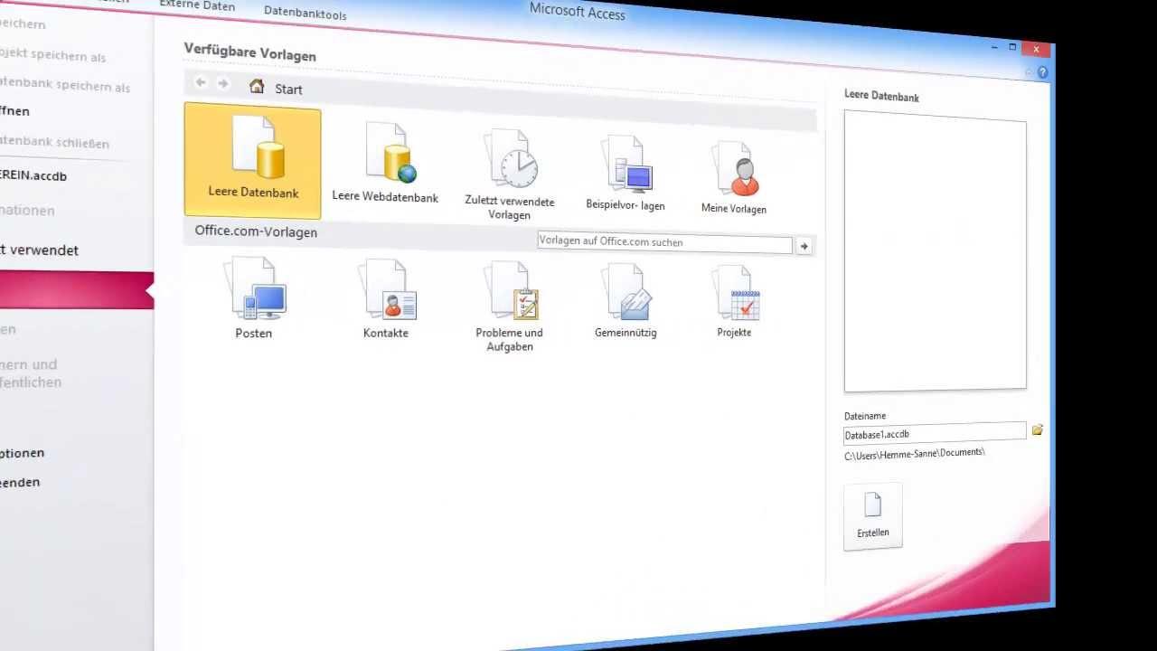 Access Im Büro Einsetzen Part 1 Datenbank Erstellen Und Erste