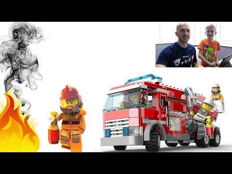Пожарные Лего Сити. Собираем ПОЖАРНЫЕ МАШИНЫ и тушим огонь. Lego City Games Firefighters