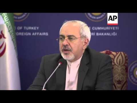 Iran's foreign minister Zarif and his Turkish counterpart Davutoglu hold meeting, presser