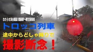 トロッコ列車で間藤駅から桐生駅車窓(の予定だったが、途中からドシャ降りで断念!)