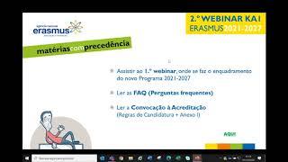 Seminário Digital Acreditação Erasmus KA1 - 2021-2027 | Parte II