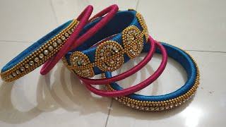Beautiful designed silk thread bangles for braid    Tej Rangoli & Arts