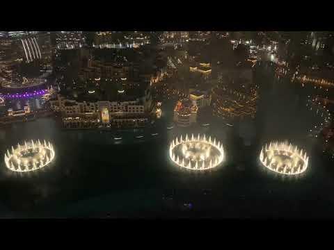 Dubai fountain viewing from Burj Kalifa